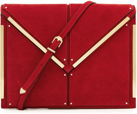 Reiss Metal Bar Trim Clutch in Red - Lyst