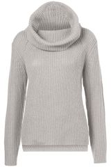 Topshop Knitted Rib Roll Neck Jumper - Lyst
