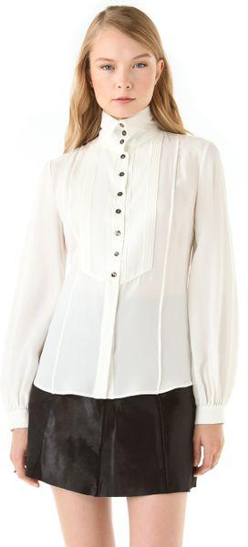 White Blouse High Collar 121