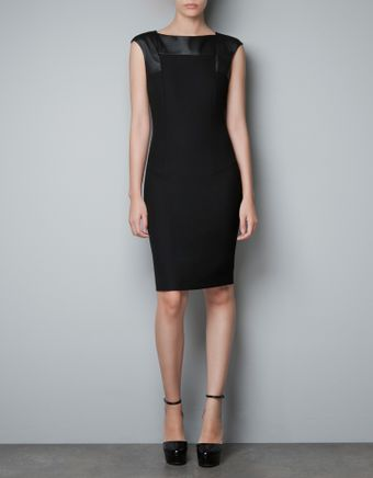 Zara Dress with Faux Leather Appliqué - Lyst