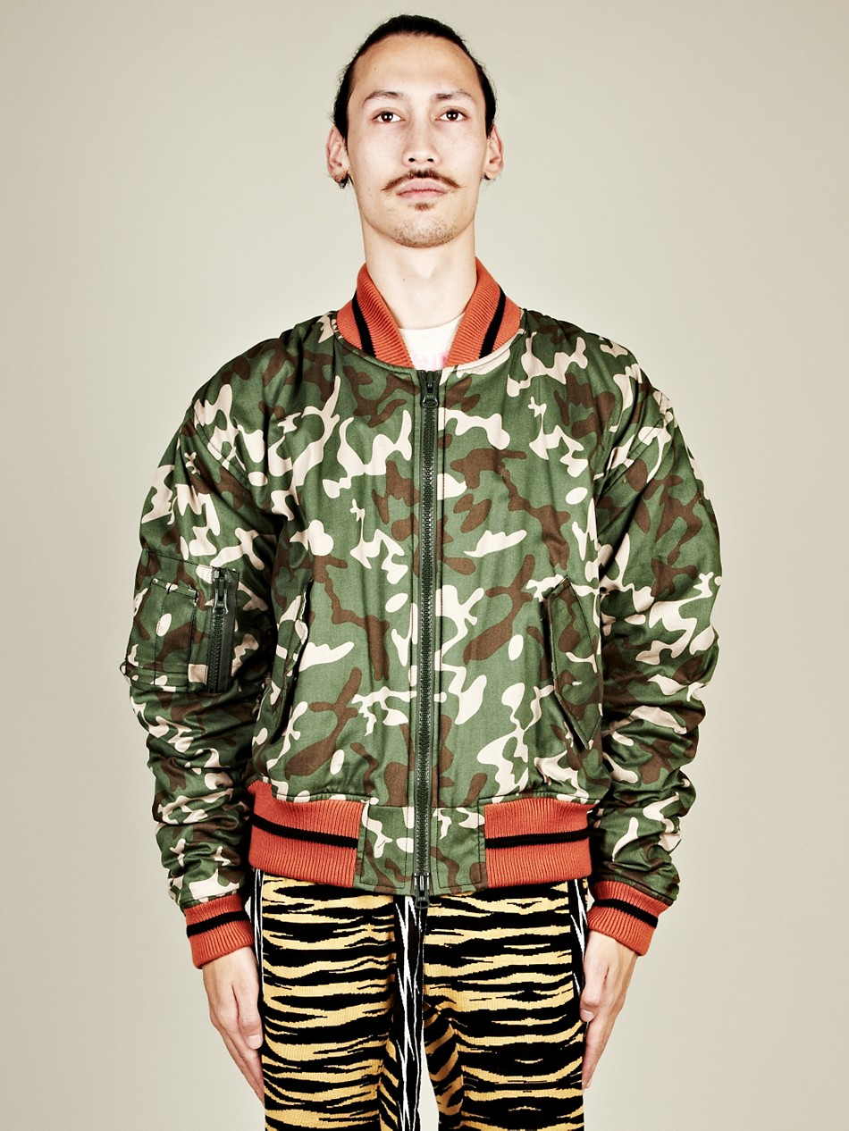 Bernhard willhelm bernhard willhelm mens jeepers camo and tiger bomber jacket in green for men - Bernard wilhelm ...
