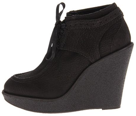 burberry brogue leather platform wedge boots in black lyst