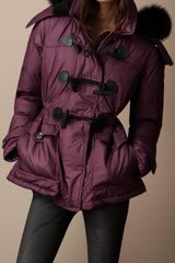 Burberry Brit Fur Trim Quilted Duffle Coat - Lyst