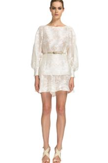 Carolina Herrera Ss Baroque Devore Blouson Sleeve Tunic with Silk Ivroy Faille Belt - Lyst