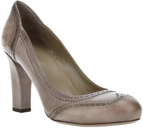 Gucci Broque Pump in Gray (grey) - Lyst