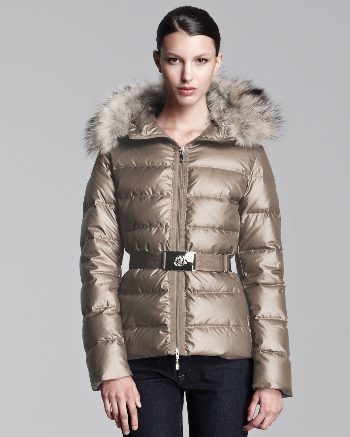 Lyst Moncler Furhooded Metallic Belted Puffer Jacket In Gray