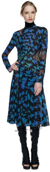 Proenza Schouler Ss Blue Bug Print Long Sleeve Pieced Dress in Blue (blue bug print) - Lyst
