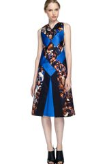 Proenza Schouler Ss Protestor Scene Print Sleeveless Diamond Vneck Flare Dress in Blue (protestor scene print) - Lyst
