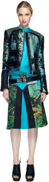 Proenza Schouler Ss Teal and Black Collarless Jacket in Blue (teal/black) - Lyst
