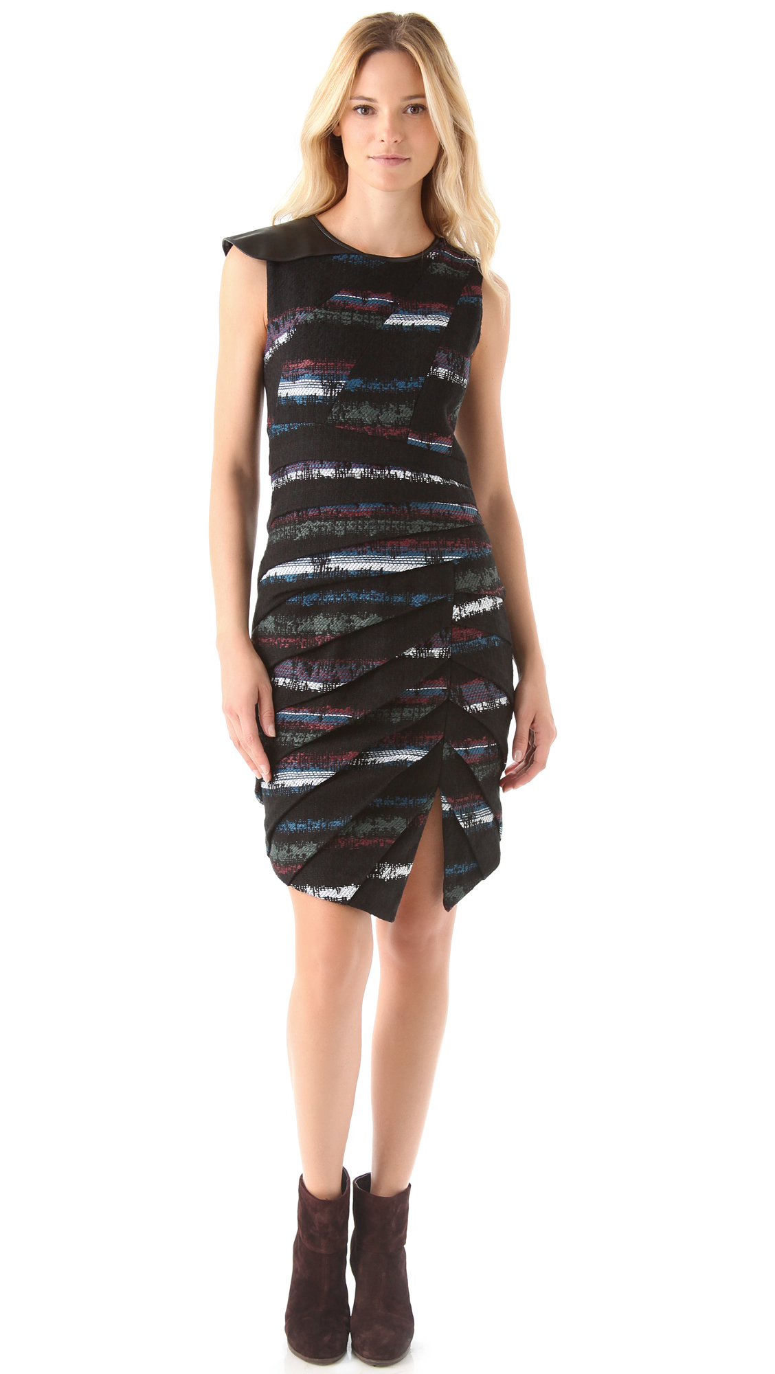 Lyst Rag Amp Bone Leather Trimmed Origami Dress In Black