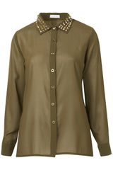 Topshop Stud Blouse By Rare in Green (khaki) - Lyst