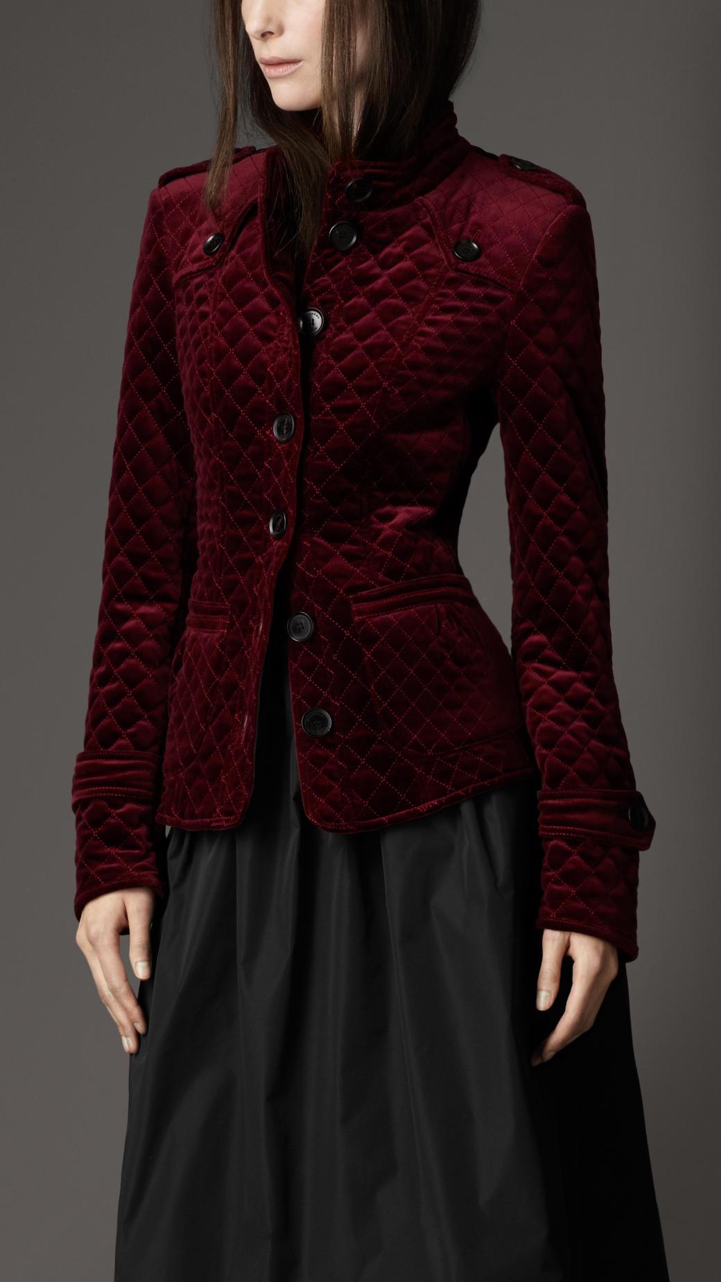 Lyst Burberry Multiquilt Velvet Jacket In Red