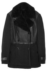 Burberry Brit Paneled Shearling and Wool Felt Coat - Lyst