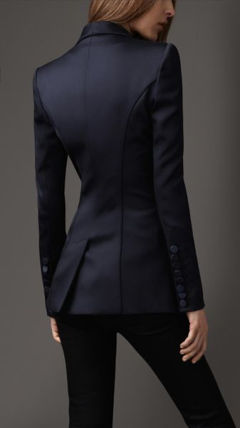 Burberry Fitted Tuxedo Jacket In Blue Navy Blue Lyst
