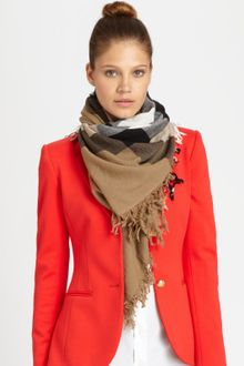 Burberry Wool Check Scarf - Lyst