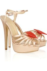 Charlotte Olympia Queen Of Hearts Embellished Satin Sandals - Lyst