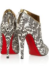 Christian Louboutin  Leather and Water Snake Ankle Boots in Gold (snake) - Lyst