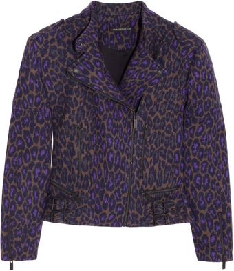 Christopher Kane Leopardprint Wool Biker Jacket - Lyst