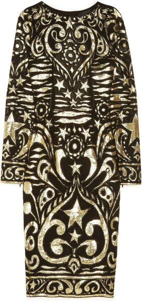 Emilio Pucci Silkblend Georgette and Lamé Brocade Dress in Gold (black) - Lyst