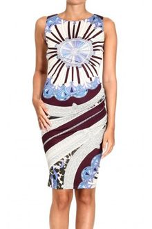 Emilio Pucci 34 Sleeve V Neck Jersey Arcade Print Dress - Lyst