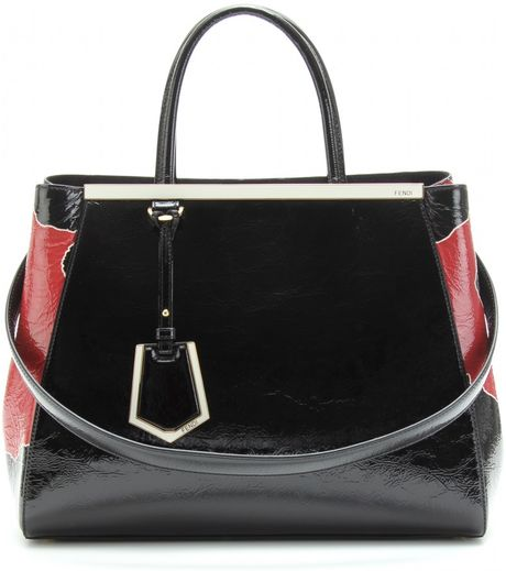 Fendi  Crinkled Patent Leather Tote in Pink - Lyst