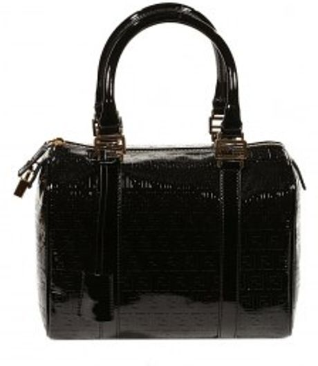Fendi Eco Patent Leather Forever Zucchino Bowling Bag in Black - Lyst