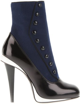 Fendi Boots in Blue Flannel and Black Patent Leather - Lyst
