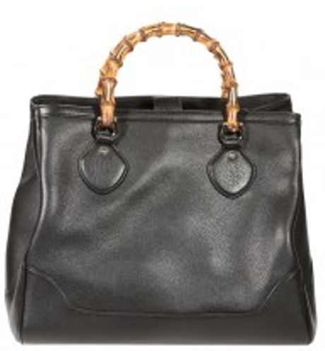 Gucci Diana Leather Bamboo Tote Bag in Black - Lyst