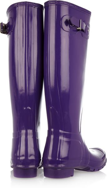Hunter Original Tall Gloss Wellington Boots In Purple Lyst