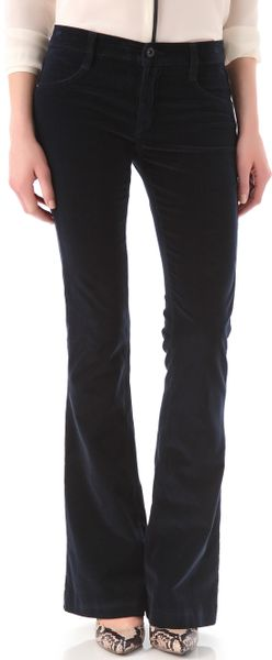 James Jeans Velveteen Trumpet Flare Pants in Blue (navy) - Lyst