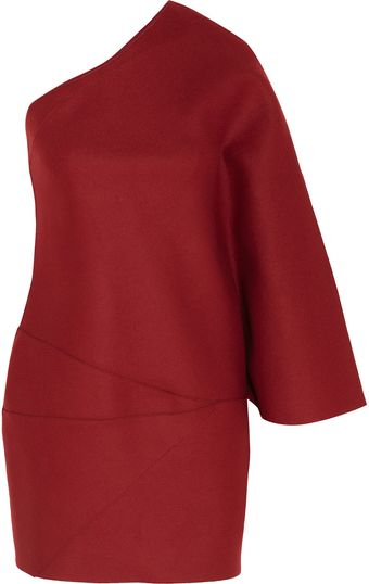 Jay Ahr Asymmetric Wool Felt Mini Dress - Lyst