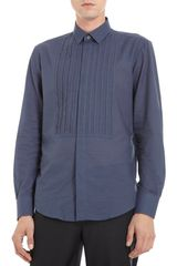 Lanvin Pleated Bib Covered Placket Shirt - Lyst