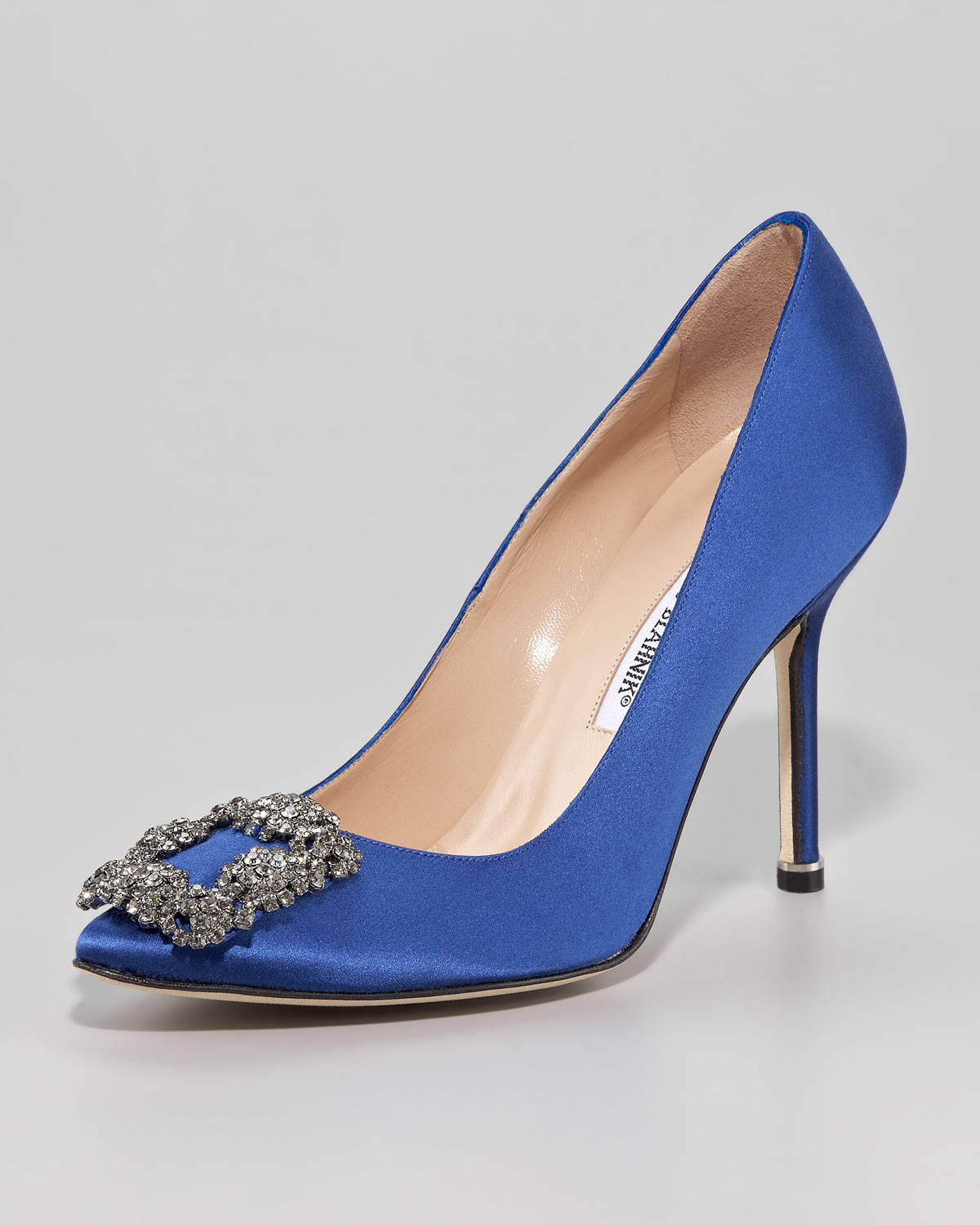 Manolo blahnik hangisi 105mm satin pump in blue save 3 for Who is manolo blahnik