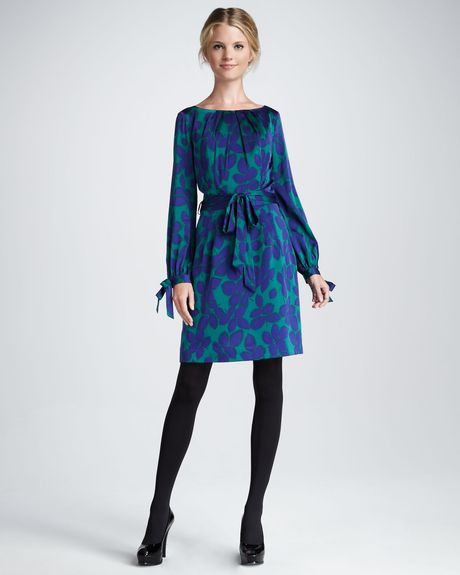 Milly Clemie Long Sleeve Tie Dress in Green (blackberry)