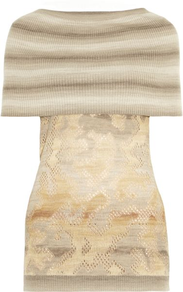 Missoni Ribbed and Crochetknit Top in Beige (taupe) - Lyst