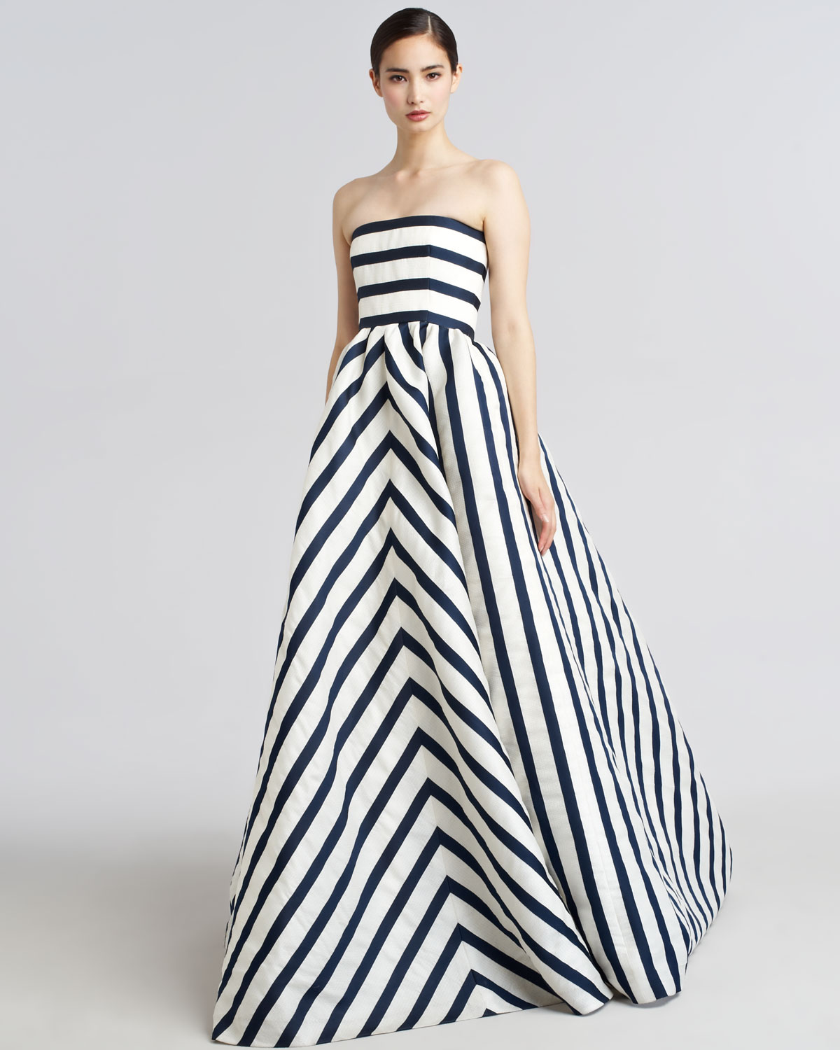 Lyst - Oscar De La Renta Strapless Striped Gazar Gown in Blue