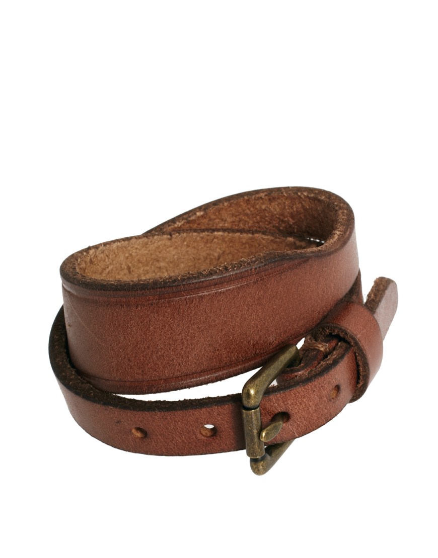 Polo Ralph Lauren Leather Strap Bracelet In Brown For Men