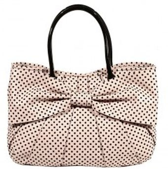 RED Valentino Leather Polka Dot Flocking Print Bow Tote Bag - Lyst