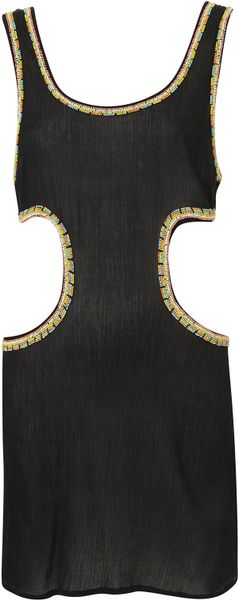 Topshop Black Native Bead Cover Up in Black - Lyst