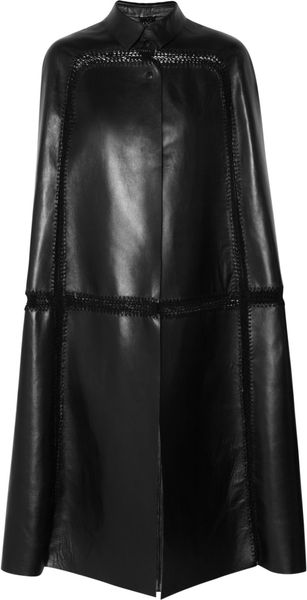Valentino Paneled Leather Cape - Lyst