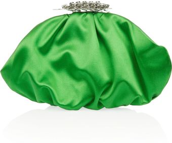 Yves Saint Laurent Crystalembellished Silksatin Clutch - Lyst