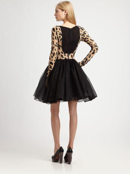 Alice Olivia Bergen Beaded Aline Dress In Black Leopard