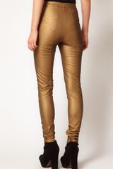 Asos Collection Asos Skinny Pants in Pu with Panel Detail in Gold - Lyst
