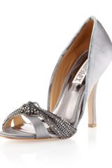 Badgley Mischka River Beaded Mesh Strap Pump Gray - Lyst