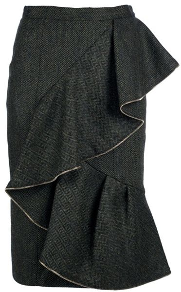 Burberry Prorsum Ruffle Skirt in Green - Lyst