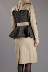 Burberry Prorsum Double Breasted Peplum Coat in Beige (nude) - Lyst