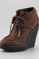 Burberry Leather Wedge Bootie - Lyst