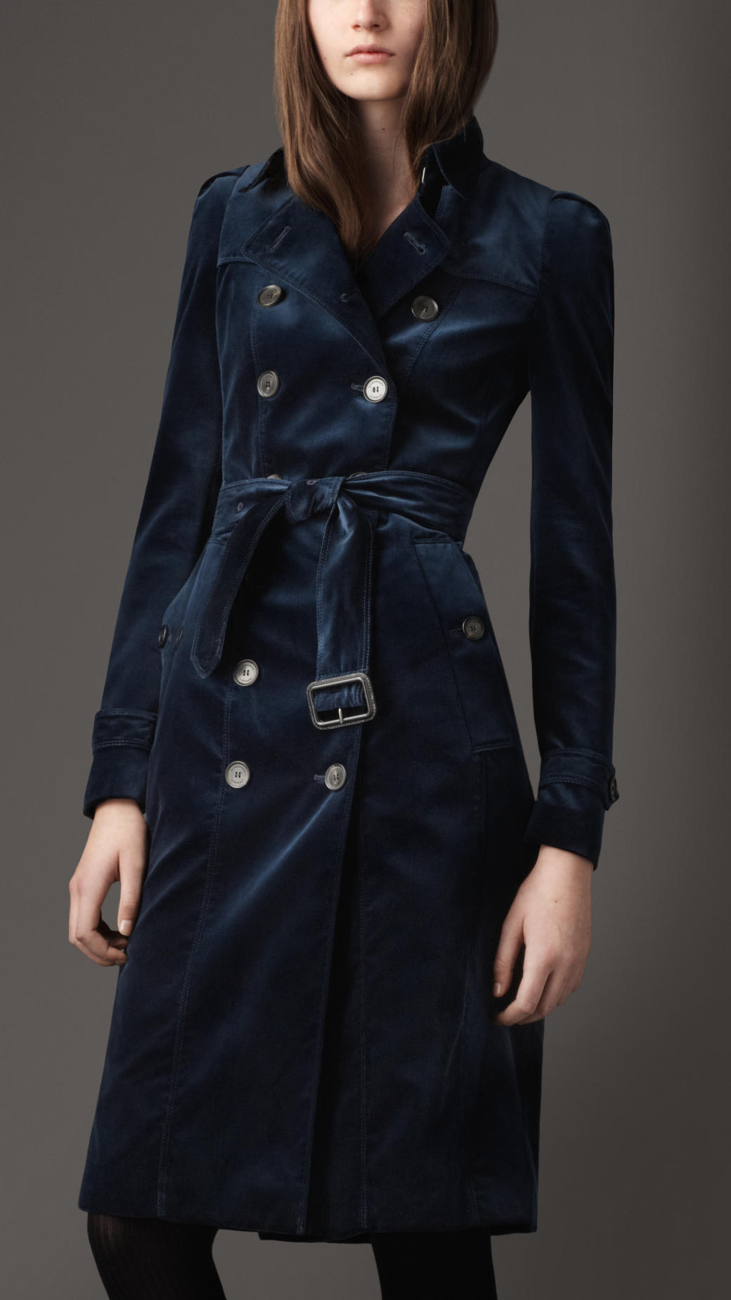 burberry long velvet trench coat in blue lyst. Black Bedroom Furniture Sets. Home Design Ideas