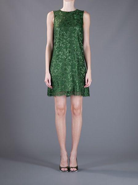 Dolce Amp Gabbana Sleeveless Lace Dress In Green Lyst