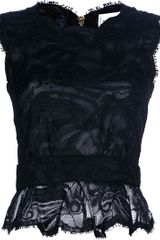 Emilio Pucci Lace Peplum Top in Black - Lyst